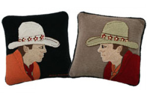 """Cowboy"" Hand-Hooked Pillows"