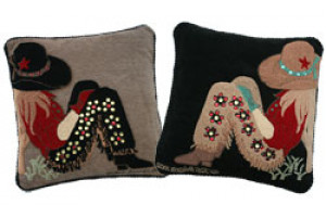 """Cowgirl"" Hand-Hooked Pillows"