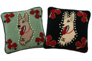 """Great Dog"" Hand-Hooked Pillows"