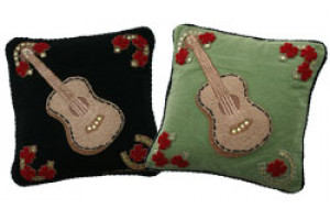 """Guitar with Roses"" Hand-Hooked Pillows"
