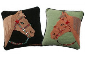 """Horse"" Hand-Hooked Pillows"