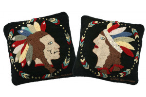 """Indian"" in Black Hand-Hooked Pillows"