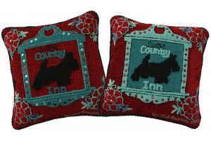 """Scotty's Country Inn"" Hand-Hooked Pillows"
