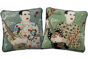 """Sounds from My Guitar"" Hand-Hooked Pillows"