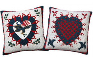 """Liberty Heart"" in White Throw Pillows"