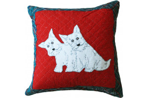 """Little Westies"" in Red-White with Plaid Border 16"" x 16"""