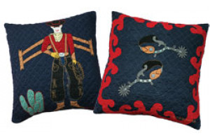 """Lonesome Cowboy"" in Navy-Red Throw Pillows"