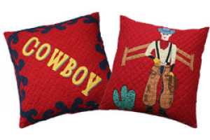 """Lonesome Cowboy"" in Crimson-Navy Throw Pillows"