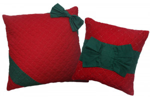 """Pretty Package"" in Red-Green Throw Pillows"