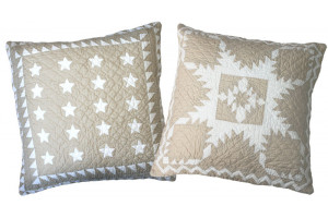 """Patriotic Mini 20 Star"" & ""Feathered Star"" in Champagne-White Throw Pillows"