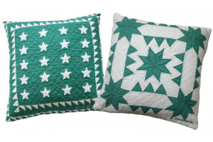 """Patriotic Mini 20 Star"" & ""Sawtooth with Stars"" in Apple-White Throw Pillows"