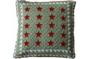 """Patriotic Mini 20 Star"" in Sage-Red-White 18"" x 18"""