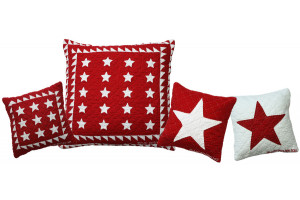 Patriotic Stars in Red-White Throw Pillows