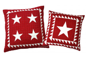 Patriotic 4 Star & Lone Star in Red-White Throw Pillows