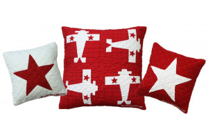 """Baby Star"" & ""4 Planes"" in Red-White Throw Pillows"