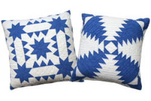 """Pineapple Log Cabin"" & ""Sawtooth with Stars"" in Royal-White Throw Pillows"