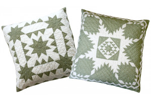 """Sawtooth with Stars"" & ""Feathered Star"" in Sage-White Throw Pillows"