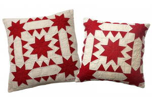 """Sawtooth with Stars"" in Red-Champagne Throw Pillows"