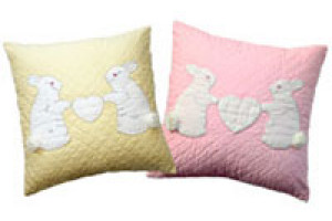 """Bunnies"" Pillows. 100% cotton."