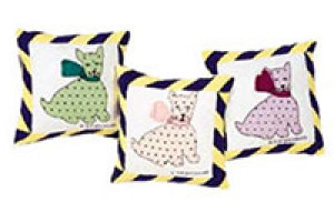 """Polka Dotted Dog"" Pillows. 100% cotton."