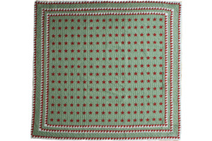 """Mini Star"" in Red-Sage-White Cover-Up Quilt 57"" x 57"""
