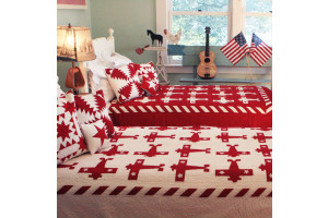 """Airplane"" in White-Red Twin Quilt 64"" x 85"""