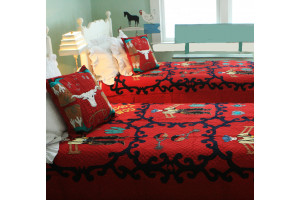 """Lonesome Cowboy"" in Red-Navy Twin Quilt 64"" x 85"""