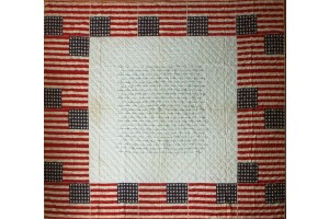 Collectible Patriotic Flag Quilt with 18 Printed Flags