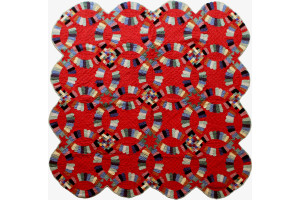 """Double Wedding Ring"" in Crimson with Scalloped Pieces Cover-Up Quilt 61"" x 61"""