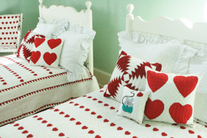 """Mini Red Hearts"" in White-Red Twin Quilt 64"" x 85"""