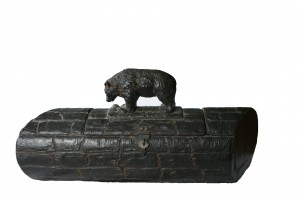 Beautiful Folk  Art Hand Made Black Bear  on top of Superb Wooden Hand Carved Log with Forged Metal and inside carved out  wooden pocket with metal Hook, 16 x  8