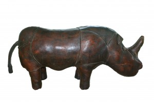 Original Leather Rhinoceros made by Abercrombie and Fitch, original design made in 1960 32 IN X 13 IN H  $8,700