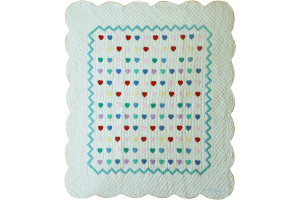 """Lollipop White with Multi Mini Hearts"" Crib Quilt 40"" x 52"""
