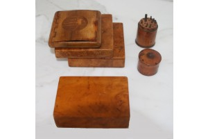 American Collection of 2 Burlwood Cigarette boxes