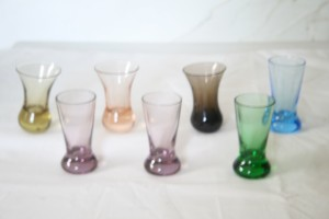 Seven Cognac Glasses in Beautiful Soft Colors