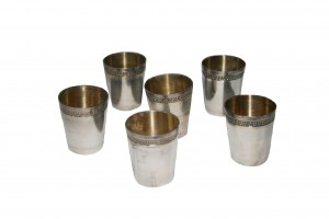Six Sterling Silver Cognac Glasses