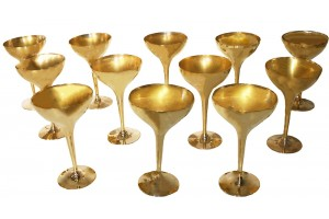 Polished Bronze Champagne and Wine Goblets