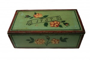 Painted Green Antique Amish Button Box