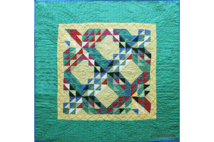 """Ocean Waves"" in Banana Cover-Up Quilt 39"" x 39"""
