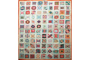 Sampler Quilt by 3 Sioux Indian Women. Magnificent quilt.  Won 1st Prize  Montana State Fair 1932 Signed M-E-V Dated 1932