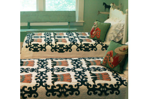 """Big Boots"" in White-Navy with Green Rivets Twin Quilt 64"" x 85"""