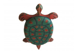 Antique American Articulated Folk Art Pull Toy Turtle Colorful  1920S 13 in      L x 8 inN W x 2.5 in H