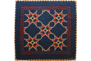 """Feathered Star"" in Navy-Rust-Honey Cover-Up Quilt 54"" x 54"""