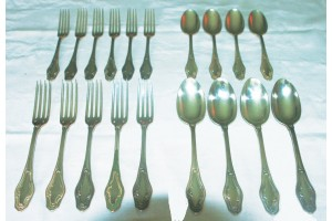 Pure Silver French with 10 Forks and 8 Spoons