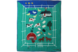 """McDonald's Farm"" in Apple-Royal Crib Quilt 46"" x 55"""