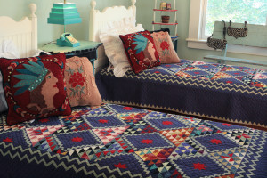 """Mississippi Backroads"" in Lake-Sage-Red Twin Quilt 64"" x 85"""