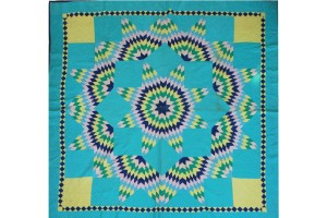 Antique Amish Broken Star  90 x 92  dated 1938  Aqua with Yellow & Royal Diamond Inside Border, Yel, pink, green, Pale Blue