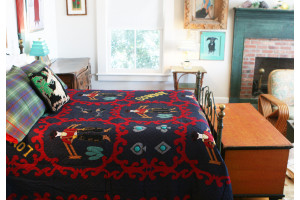 """Lonesome Cowboy"" in Navy-Red Twin Quilt 64"" x 85"""