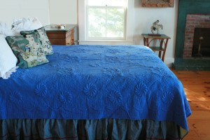 """Trapunto"" in Periwinkle-Butter Reversible Queen Quilt 85"" x 95"""