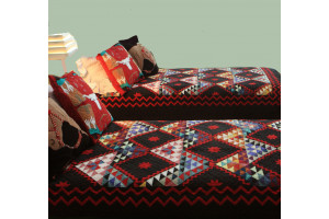 """Mississippi Backroads"" in Black-Red Twin Quilt 64"" x 85"""